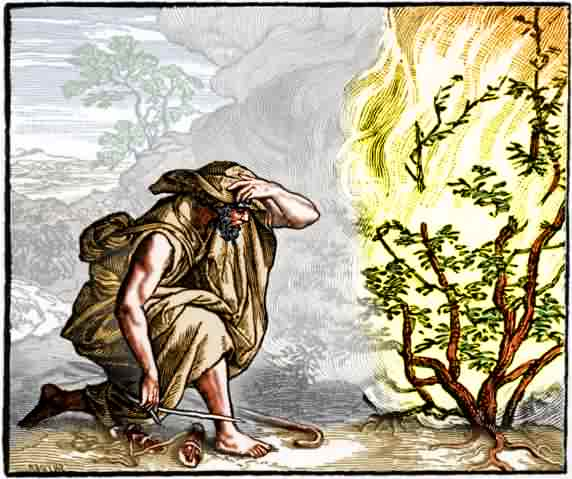 Moïse et le buisson ardent dans images sacrée moses-at-the-burning-bush